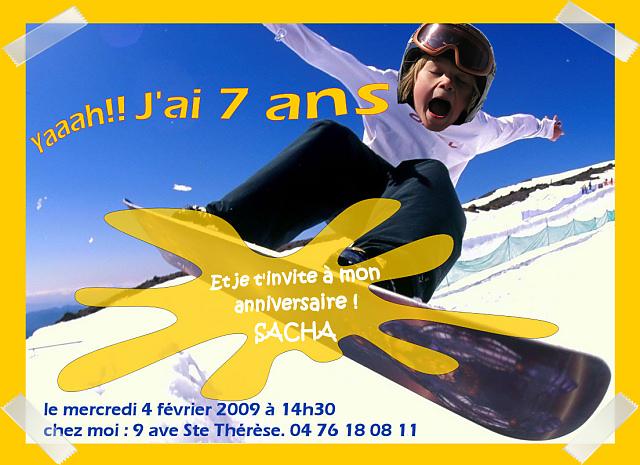Carte Anniversaire Skieur.Sacha A 7 Ans Maf Gg